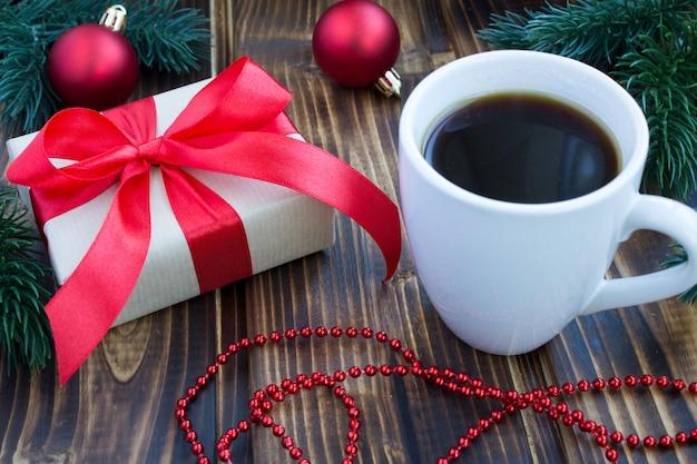 Gift, coffee and christmas composition