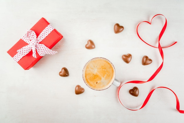 Gift, coffee and sweets for valentine's day