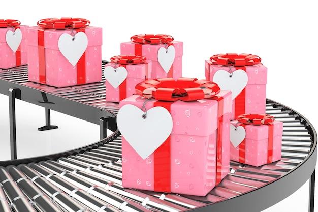 선물 배달 개념입니다. 흰색 바탕에 창고에 있는 컨베이어에 하트 종이 선물 상자와 하트 태그로 화려합니다. 3d 렌더링.
