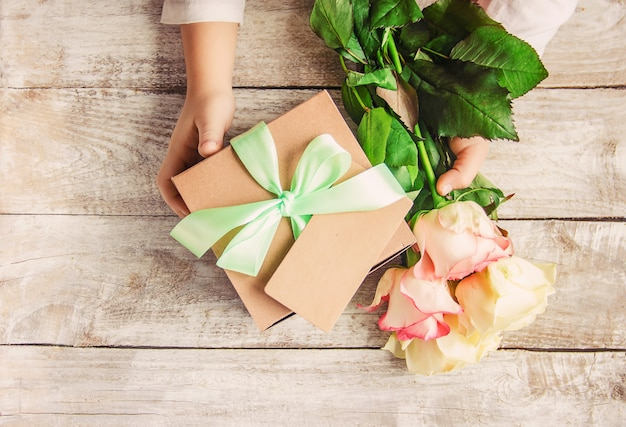 Gift and flowers.