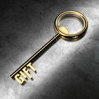 Gift - golden key on black metallic background. 3d rendering