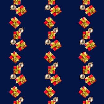 金のリボン、青い背景のシームレスなパターンのクリスマスボールと赤い箱のギフト