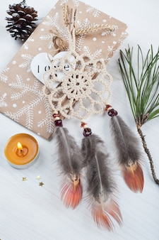 Gift kraft bag and beige dream catcher