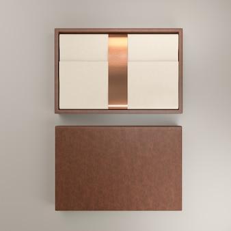 クラフトエコカートンカバーラベルパックが分離されたギフトレザーボックスコンテナ-空白のテンプレート-3dレンダリング