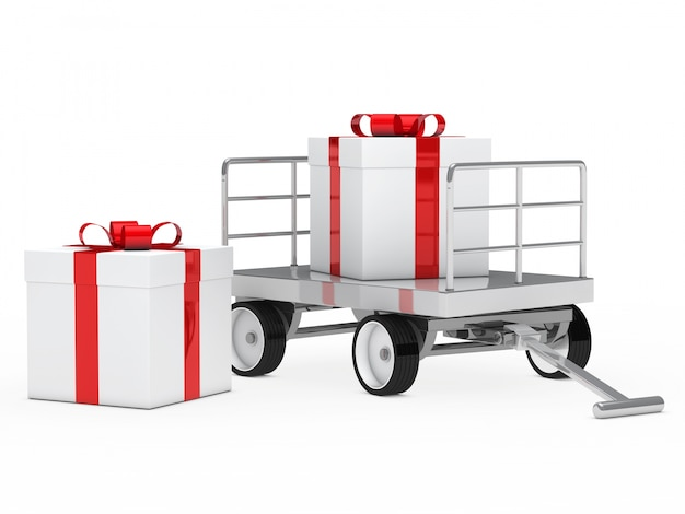 他の贈り物とカートの隣の贈り物