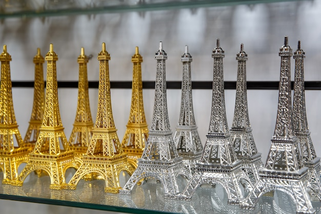 Gift shop in paris. small copies of the eiffel tower.