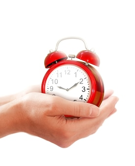 Изображение концепции времени подарка с будильником в руках