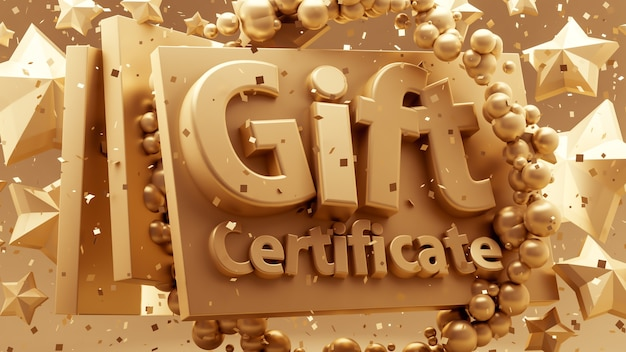 Gift voucher, certificate, new year, christmas, holiday 3d illustration rendering
