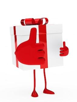 Подарок с большой рукой, показывая позитивный жест