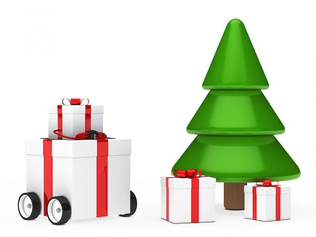 Подарок с колесом рядом с рождественской елки