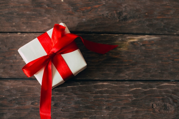 Gift on a wooden background