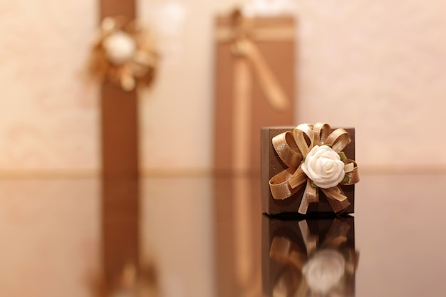Gift on wooden table