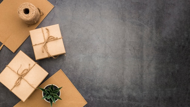 Gift wrapping composition with copy space