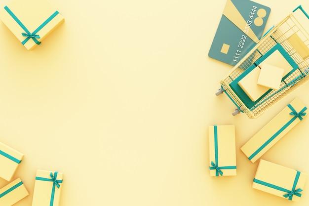 Магазинная тележкаа супермаркета окружая giftbox с кредитной карточкой на желтом переводе 3d