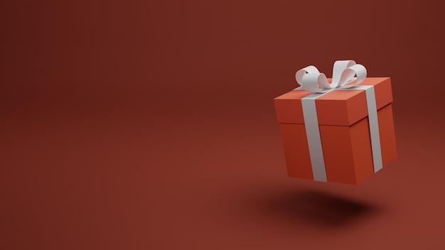 Подарочная коробка на красном фоне