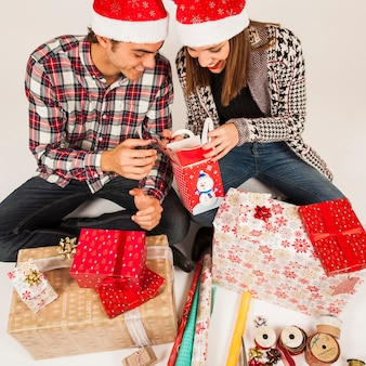 몇 상자를보고 선물 개념