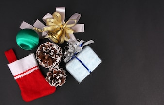 Gifts and Decorations on Christmas Day with Black Background.