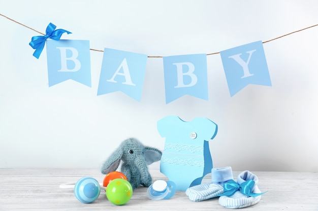 Gifts for baby shower on table