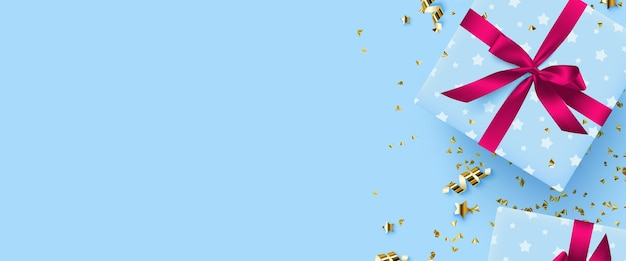 Gifts background illustration with boxes of gifts on a background of golden confetti