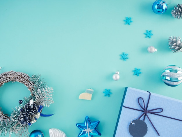 Gifts box and christmas decorations