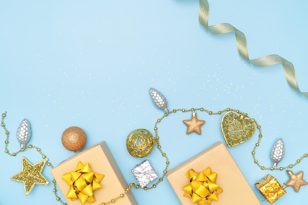 Gifts boxes, star and ball for birthday, christmas or wedding ceremony