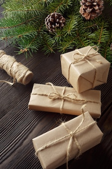 Gifts brown with a string and a roll of string