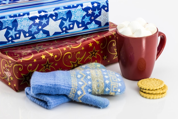 Gifts of coffee and gloves on the table