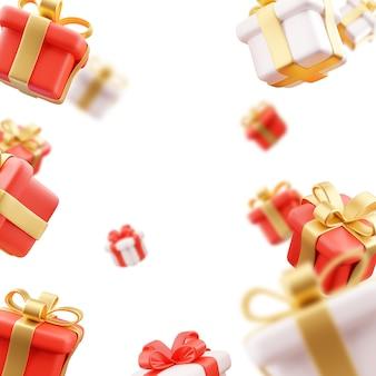 떨어지는 선물. 비 선물 상자. 흰색 바탕에가 선물 상자