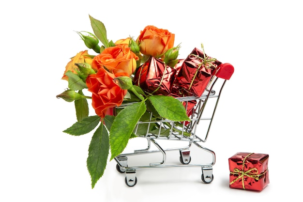Gifts and flowers in the shopping cart.