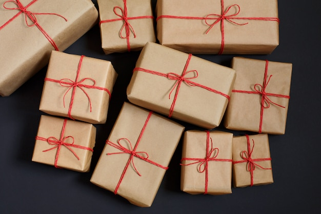 Gifts for friends and family. heap of boxes.