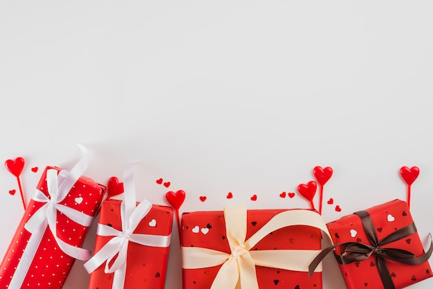 Gifts and hearts for valentine's day
