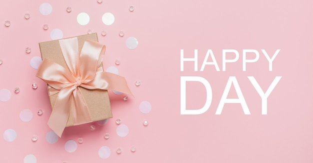 Gifts on pink background, love and valentine concept with text happy day