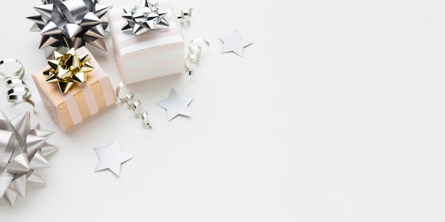 Gifts on table with copy-space