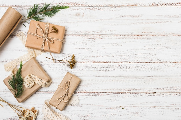 Gifts with pine and copy space