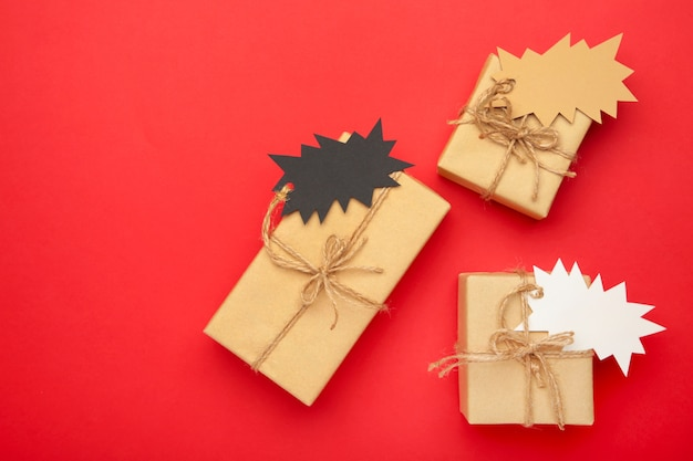 Gifts with sale tags top view