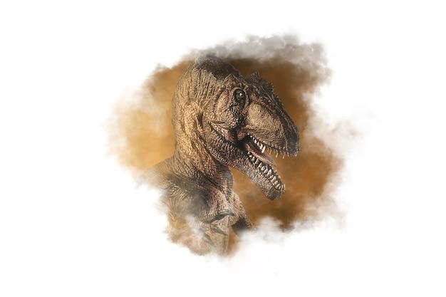 煙の背景にギガノトサウルス恐竜