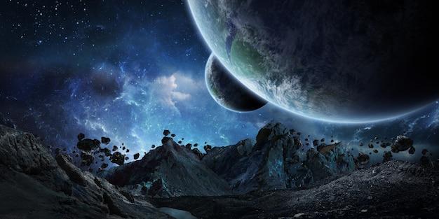 Гигантские астероиды, собирающиеся разбить рендеринг земли