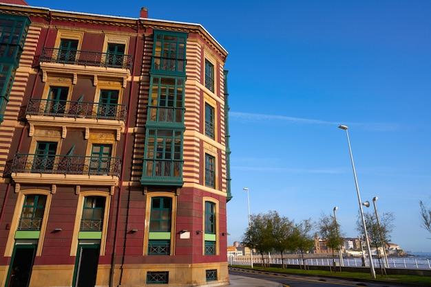 Gijon facades of asturias in spain