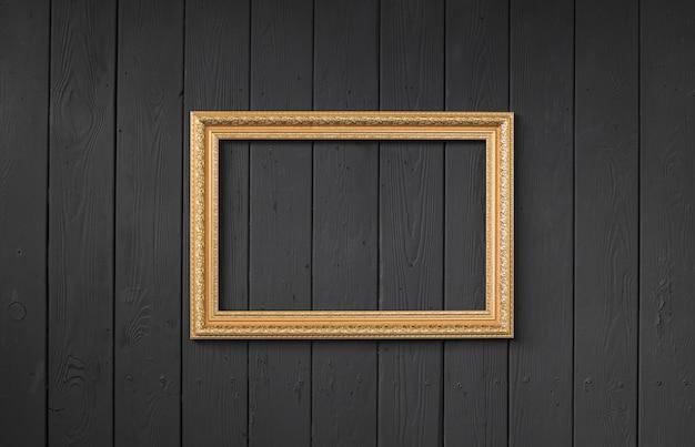 Gilded elegant frame on black background