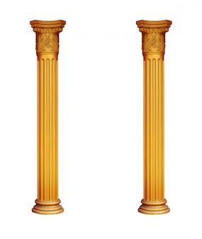 Позолоченные две колонны на белом фоне