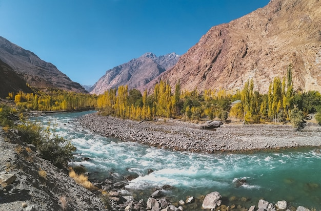 Gilgit river flowing through gupis, with a view of mountain range and trees in autumn.