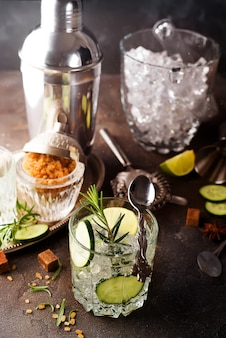 Gin tonic cocktail with cucumber, rosemary and ice