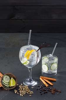 Gin tonic cocktail with lima and many spices