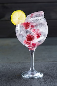 Gin tonic cocktail with raspberry lima slice and ice