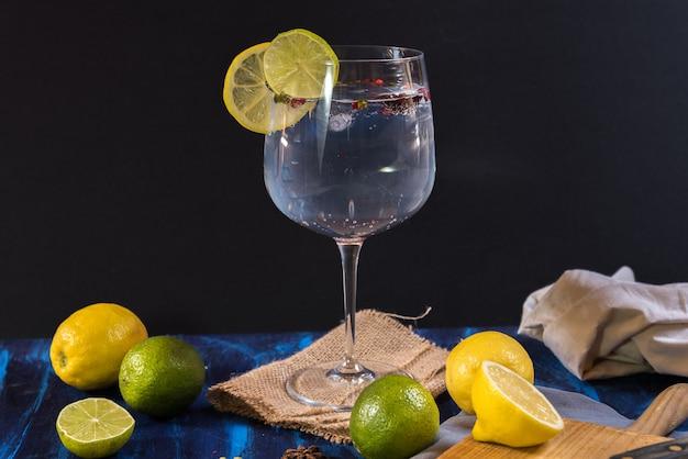 Gin tonic on rustic wood