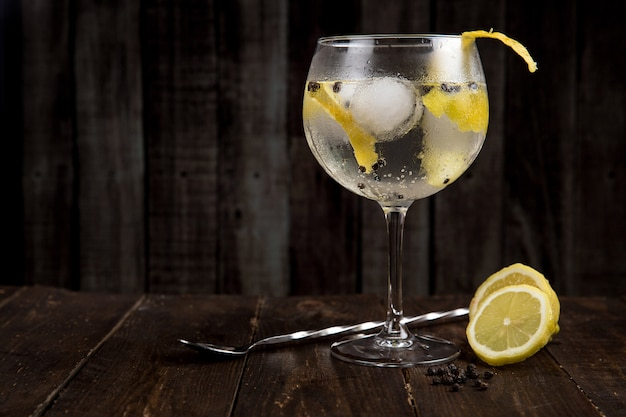 Gin tonic on wooden table