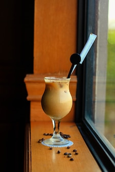 Ginger coffee in a glass