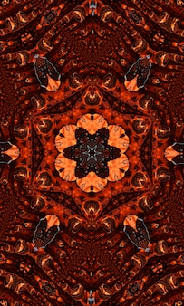 생강 그루비 만화경은 둥근 만화경 빛나는 요소가 있는 추상 원활한 패턴입니다. 세로 이미지.