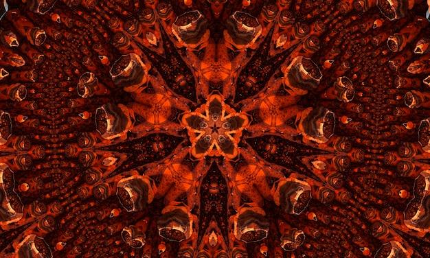 둥근 만화경 빛나는 요소와 생강 멋진 만화경 추상 원활한 패턴