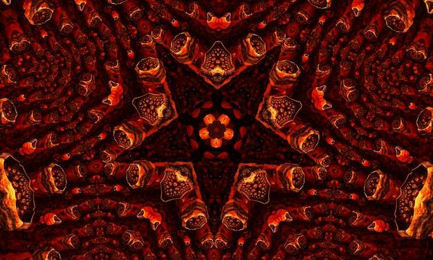 Имбирь заводной калейдоскоп абстрактный бесшовный паттерн с круглыми калейдоскопическими светящимися элементами.